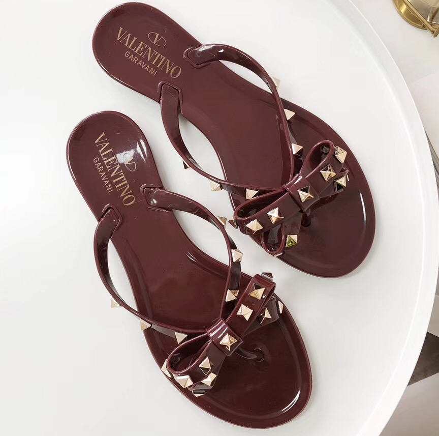 IMG 90429shoesv 40 cr - Valentino Rockstud Jelly Bow PVC Thong Flip Flops