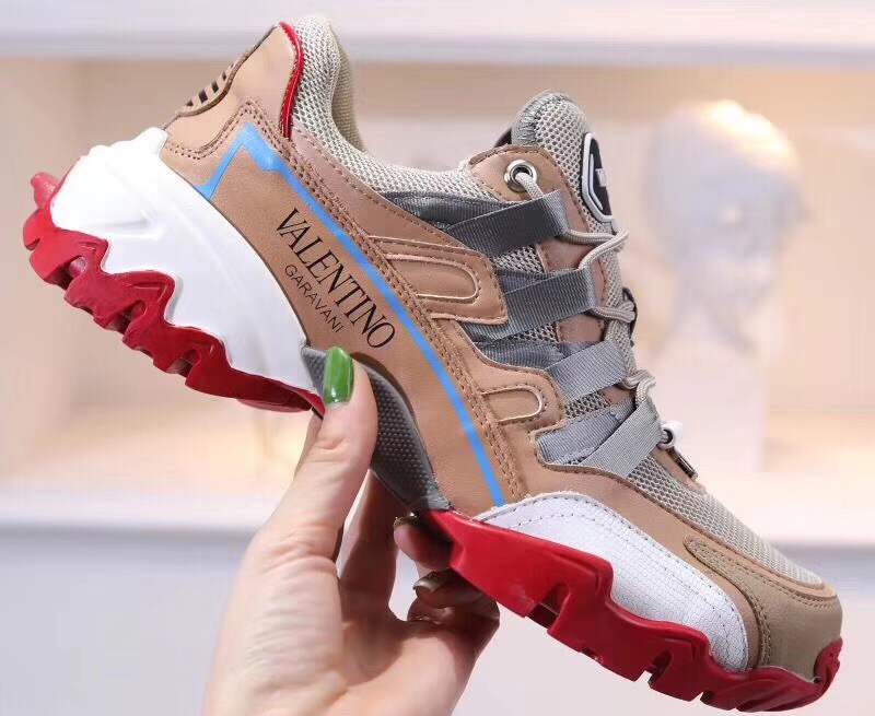 IMG 90712s 322 cr - Valentino Fabric and Leather Climbers Lovers Sneakers 2019