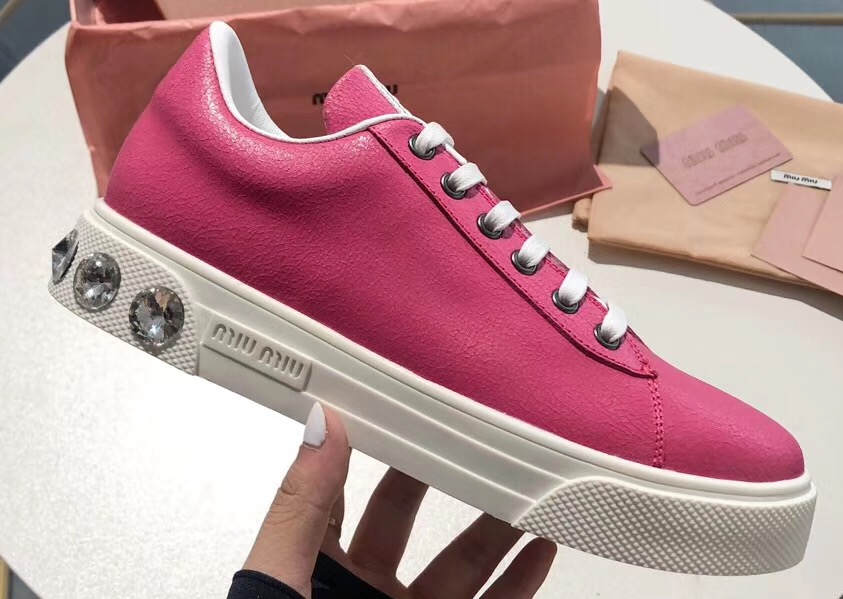 IMG 90728a 61 cr - Miu Miu Logo Leather Sneakers with Crystals 2019