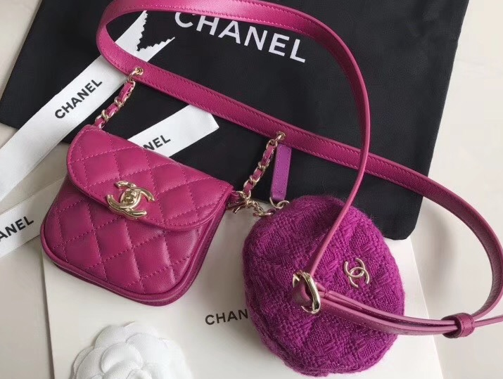 IMG 200303a 206 cr - Chanel Lambskin and Tweed Waist Bag and Coin Purse AP0743 2020