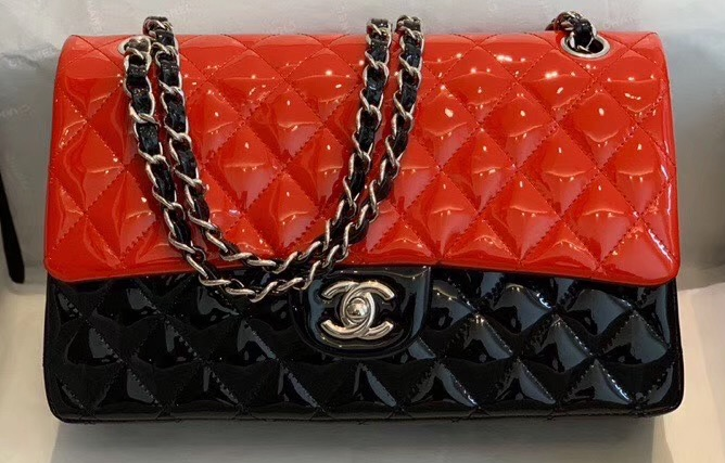 IMG 200410y6 123 cr - Chanel Bi-color Classic Flap Bag in Patent Calfskin