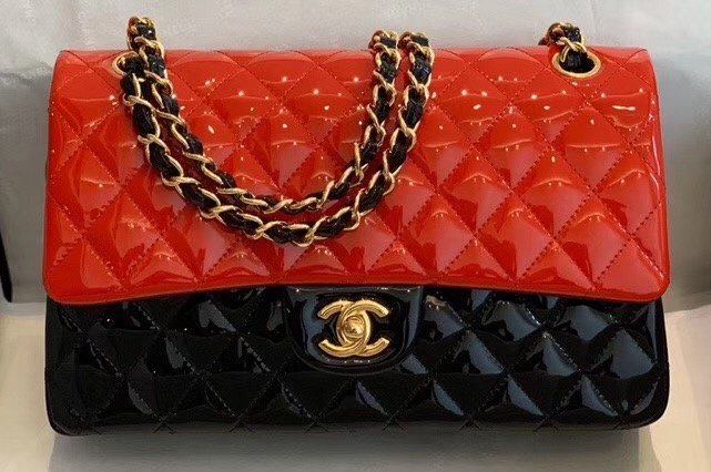 IMG 200410y6 131 cr - Chanel Bi-color Classic Flap Bag in Patent Calfskin