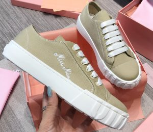 IMG 200716a 456 crr 300x259 - Miu Miu Embroidered Logo Cotton Gabardine Sneakers 2020