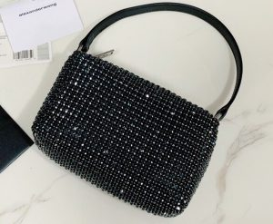 IMG 200729a 295 ccr 300x247 - Alexander Wang Wangloc Medium Pouch Bag With Crystal Rhinestone Chain Mesh