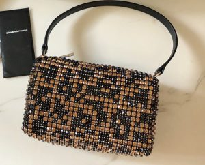IMG 200729a 349 ccr 300x242 - Alexander Wang Wangloc Medium Pouch Bag With Crystal Rhinestone Chain Mesh